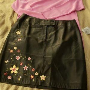 Alfani Black Leather Skirt
